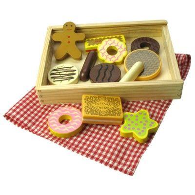 Leksaksmat - Ask med 12 småkakor i trä