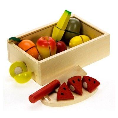 Leksaksmat - Fruktlåda med delbar frukt