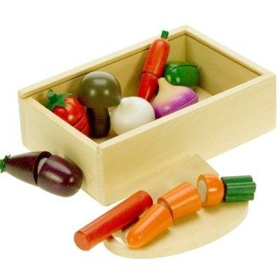 Leksaksmat - Grönsakslåda i trä