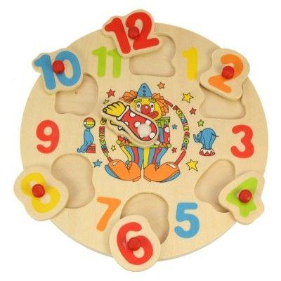 Klocka i trä med avtagbara siffror - clown - Bigjigs