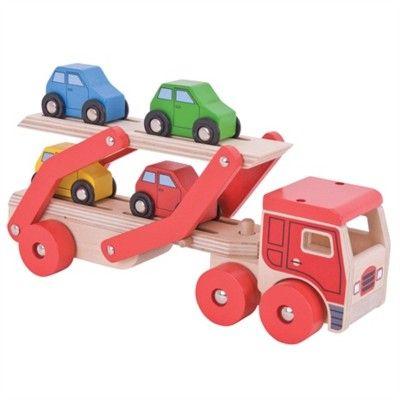 Lastbil i trä med 4 bilar - röd - Bigjigs