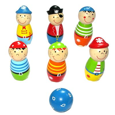 Bowling i trä - pirat - Bigjigs