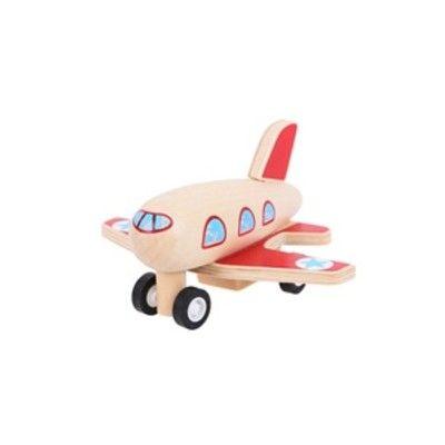 Flygplan i trä - röda vingar