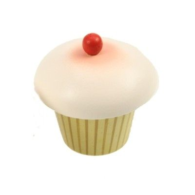 Leksaksmat - Muffins i trä - jordgubb