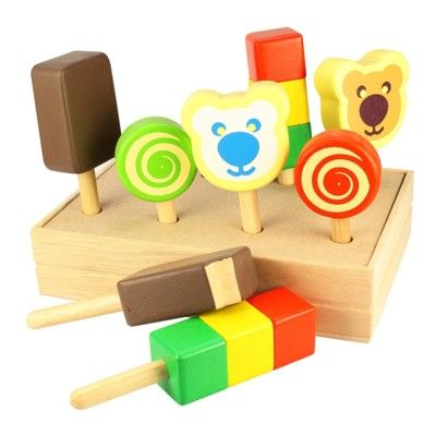 Leksaksmat - Glasspinnar i trä i trälåda - 8 st
