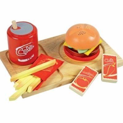 Leksaksmat - Träbricka med hamburgermeal