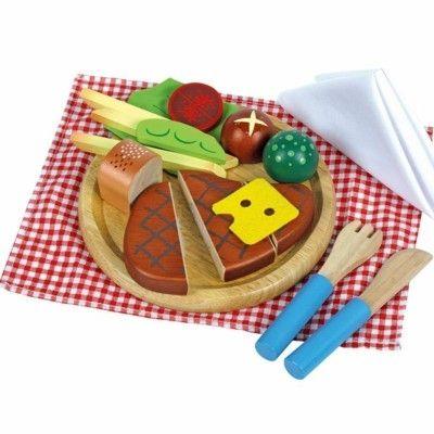 Leksaksmat - Tallrik med steak-måltid