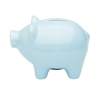 Sparbössa - ljusblå gris i porcelän