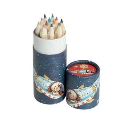 Färgpennor i rund ask - rymden
