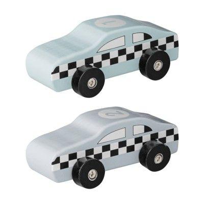 Träbilar - racerbilar 2 st - mint & grå - Bloomingville