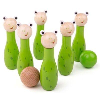 Bowling i trä - groda - Bigjigs