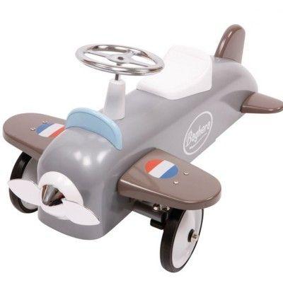 Gåbil i metall - flygplan - grå - Baghera