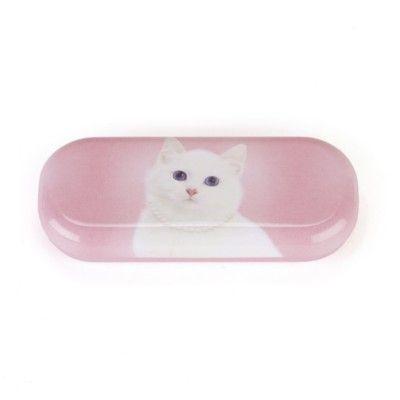 Glasögonfodral - vit katt med halsband - Catseye