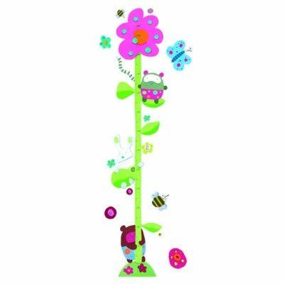 Mätsticka som wallstickers -  söta djur och blommo
