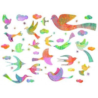 Wallstickers - fåglar med glitter - Djeco