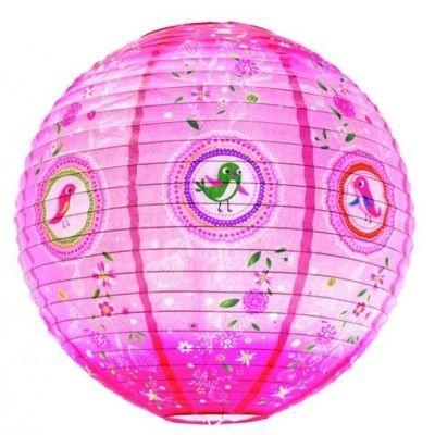 Rislampa - rosa med småfåglar