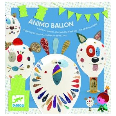 Ballongfigurer med klistermärken - djur - Djeco