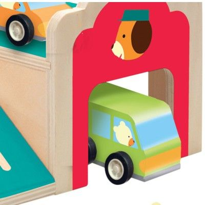 Garage i trä med tre bilar - Djeco