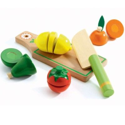 Leksaksmat - Delbar frukt & grönt på skärbräda - Djeco