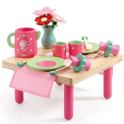Bord och servis i trä - kaninens frukost - Djeco