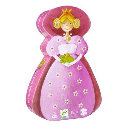 Pussel i siluettbox - Prinsessan och grodan - 36 bitar - Djeco