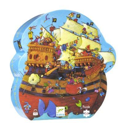 Pussel i siluettbox - Piratskepp - 54 bitar - Djeco