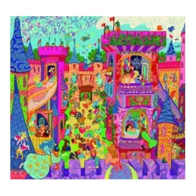 Pussel i siluettbox - Slott med prinsessor - 54 bitar - Djeco
