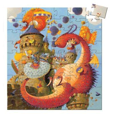 Pussel i siluettbox - Prins Valiant och draken - 54 bitar - Djeco