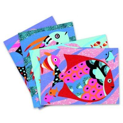 Måla efter nummer med sand - Fiskar i regnbågens färger - Djeco
