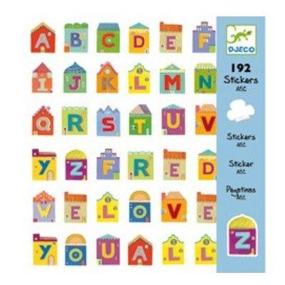 Klistermärken, bokstäver i små hus