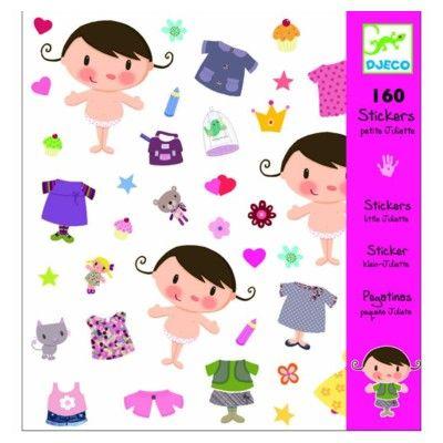 Klistermärken, söt flicka med kläder - Djeco