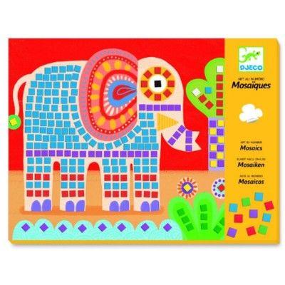 Mosaik - elefant och snigel - Djeco