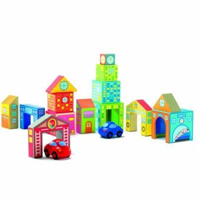 Byggklossar i trä - stad och 2 bilar, 16 delar - Djeco
