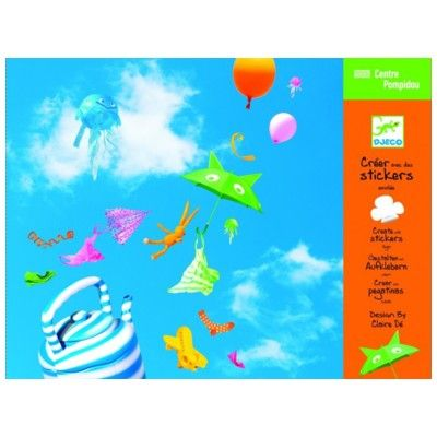 Stickers med bakgrund - flygande saker