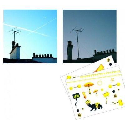Stickers med bakgrund - natt och dag