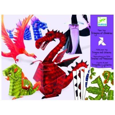 Gör egna figurer i papp - drake - Djeco