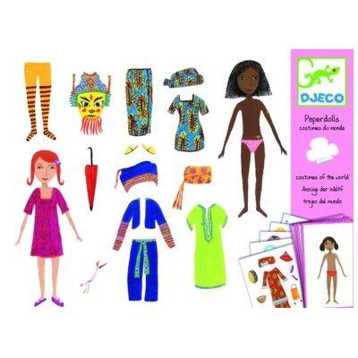 Pappersdockor med klistermärken - världens barn