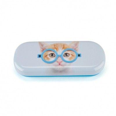 Glasögonfodral - katt med blå glasögon - Catseye