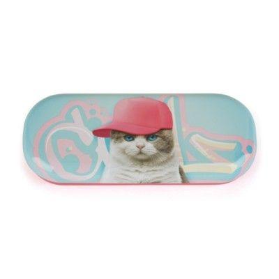 Glasögonfodral - katt med rosa keps - Catseye