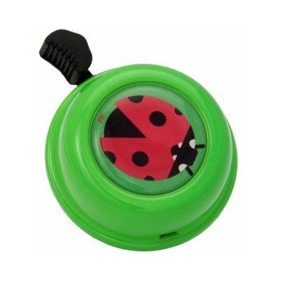 Ringklocka till cykel - grön med nyckelpiga - Liix
