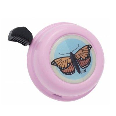 Ringklocka till cykel - rosa med fjäril - Liix