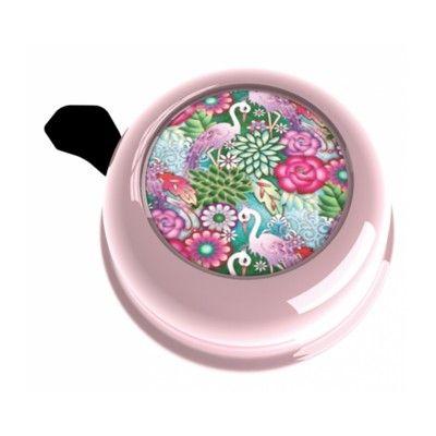 Ringklocka till cykel - rosa med flamingos och blommor - Liix