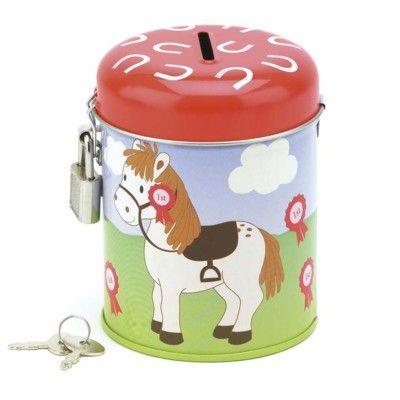 Sparbössa i plåt med ponny