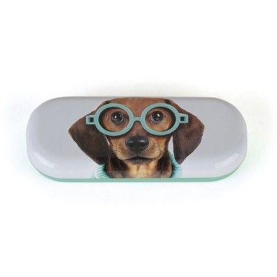 Glasögonfodral - hund med blå glasögon - Catseye