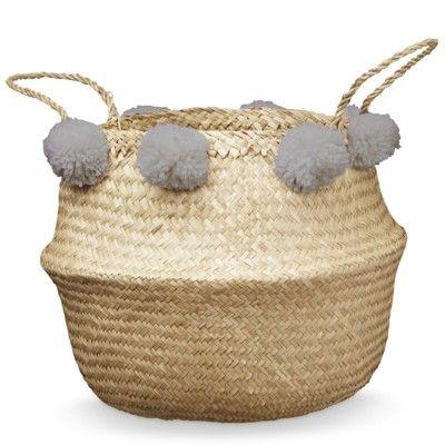 Förvaringskorg - Belly Basket med grå pom poms - Cam Cam