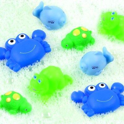 Badleksak - vatten-sprutande djur - blå, 8 st