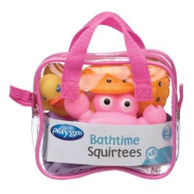 Badleksak - vatten-sprutande djur - rosa, 8 st