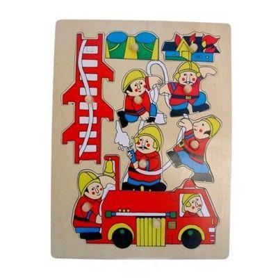 Knopp-pussel med brandbil och brandmän