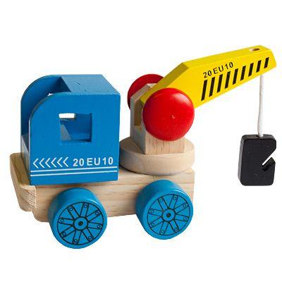 Bil i trä - kranbil, blå