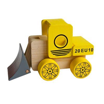 Bil i trä - grävskopa, gul